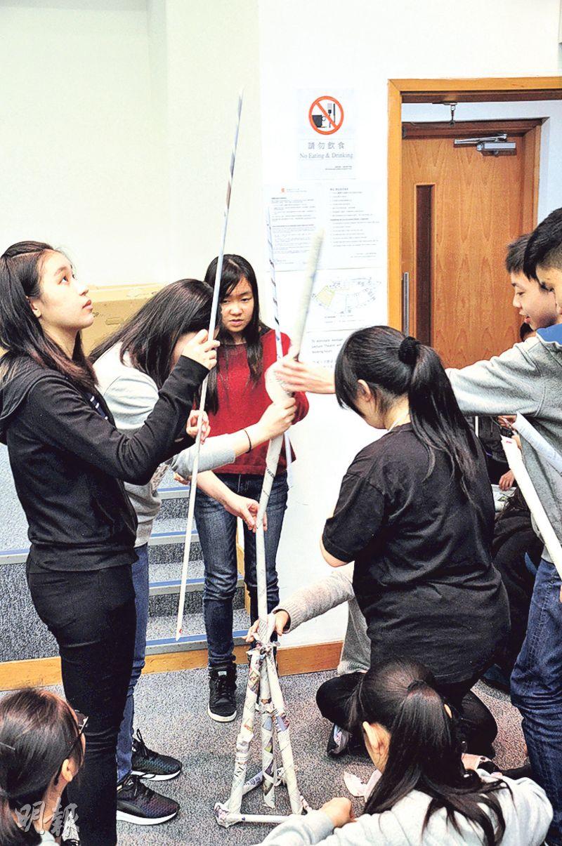記者常要與不同人合作,故正式展開全日迎新營活動前,校記先分組玩破冰遊戲。(圖:譚舒雅、鄒靖儀)