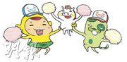 梁進筆下的漫畫角色阿呢(左)、豬仔錢罌(右)和阿貓(下圖右)為港人帶來了不少歡樂,這些角色亦滲入了他的性格。